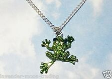 "CRYSTAL RHINESTONE FROG PENDANT/NECKLACE with silver plated 18"" CHAIN"