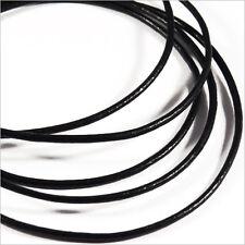 Condon de CUIR Naturel 1,5mm Noir 1 Mètre pour Colliers et Bracelets
