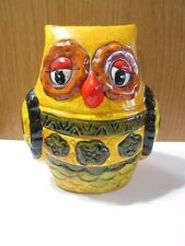 FUNKY PRETTY POTTERY OWL BANK VINTAGE TAIWAN GOOD CONDITION YELLOW ANIMATED