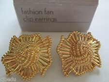 AVON VINTAGE*FASHION FAN CLIP-ON EARRINGS*NIB*1991*GOLD-TONE*PRIZE REDUCTION