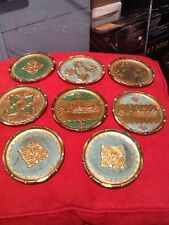 Green And Gold Vintage Florentine Toleware Coasters 8