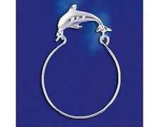 Sterling Silver Dolphin Charm Holder Pendant Marine Ocean Charm Solid 925 Italy