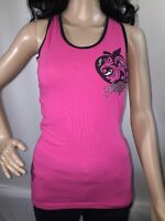 Apple Bottoms Hot Pink Black Ringer Tank Top Criss Cross Back Sexy Style Medium