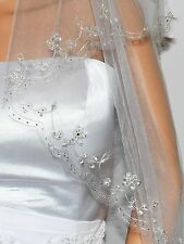 2T 2 Tier Silver Lined Beaded Edge Fingertip Length Bridal Wedding Veil VB9A3...
