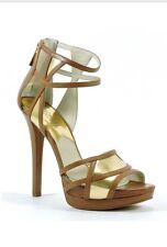Michael Kors Jaida Back Zip Cut Out Platforms Luggage Brown Gold Sandals 7 M New