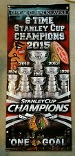 6 Time Stanley Cup Champions Chicago Blackhawks Street Banner 2015