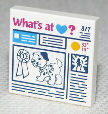 Lego White Tile 2 x 2 Prize Ribbon Dog and 'What's at Heart?' Newspaper Pattern