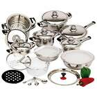 Pots and Pans High Quality Heavy-Gauge Stainless Steel Cookware 28 Piece Set