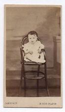 PHOTO ANCIENNE CDV Bébé Enfant Assis Chaise Vers 1870 Jamin & Cie Paris