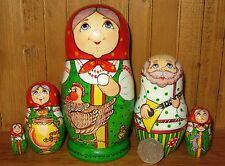 Ruso Único Pintado A Mano 5 Nesting muñecas de cuentos de hadas Gallina ryaba Firmado sidorova