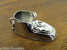 Vintage silver 3D BABY BOY GIRL FIRST SHOE BOOTIE MOTHER BRACELET charm #1 #F