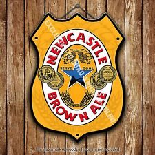 Newcastle Brown Ale Beer Advertising Bar Pub Metal Pump Badge Shield Steel Sign