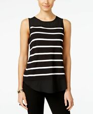 NEW INC Women Comfort Casual Sleeveless Round Neck Knitted Top Black White XL
