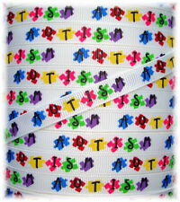 3/8  CLASSIC AUTISM AWARENESS GROSGRAIN RIBBON AUTISTIC PUZZLE 4 HAIRBOW BOW 5YD