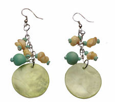ONE-OF-A-KIND GREEN/YELLOW DROP EARRINGS FUN BEADS/SHELLS/NACRE 'MOON' (ZX13)