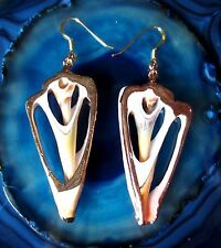 Orecchini pendenti orecchini Guscio Disco bianco marrone Gancio in argento 925