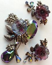 VINTAGE EUGENE SIGNED WATERMELONG RHINESTONE GLASS FLOWER BROOCH AND EARRINGS