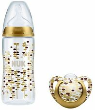 NUK Limited Edition Bottle and Soother Set (0-6 m, Gold) Pacifier Baby New
