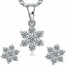 swarovsk crystal snowflake  silver pendant necklace + earrings  in gift box