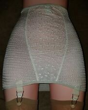 VTG SASSY CREPE SUZETTE OPEN BOTTOM GIRDLE W GARTERS SZ XL NOS  OFF WHITE