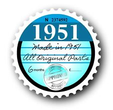 Retro 1951 Tax Disc Disk Replacement Vintage Novelty Licence Car sticker decal