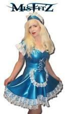 Misfitz pearlsheen blue rubber latex maids dress sizes 8-32/made to measure