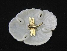 BEAUTIFUL OLD CHINESE JADE CARVING MOUNTED AS PIN BROOCH W 14K GOLD DRAGONFLY