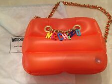 MOSCHINO COUTURE JEREMY SCOTT Inflatable PVC Shoulder Bag Orange CHARMS Handbag