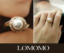 Size 5.5 Classical 18K Rose Gold Plated Pearl Ring with Swarovski Crystals R338