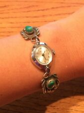 Navajo Sterling Silver Turquoise Coral Beads Womens Ladies Watch Bracelet