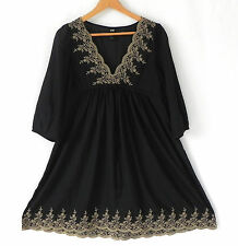 H&M Dress Black Empire Waist Baby Doll 3/4 Sleeve Sheer Size 10