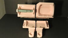 6 PC PINK BATHROOM SET Porcelain Ceramic VINTAGE Soap Toilet Paper Holder Towel