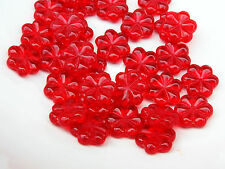 Tchèque plate fleur fraise rouge pressed glass bead 13 mm lot de 9