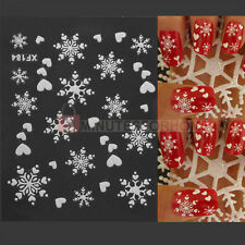 Adesivi Stickers 3D Cuore Fiocco di Neve Bianco Natale Decor Nail Art Unghie