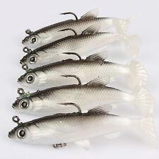 New 5Pcs 8CM 70G 3D Soft Fishing Lure Crankbait Bass Tackle Treble Fish Bait