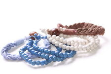 4 Pack-2 Rosary Style Aqua Blue Bracelet & Brown/Blue Braided Bracelets (Zx83)