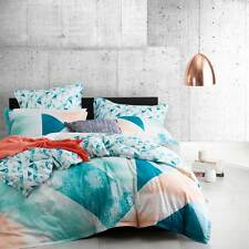 Logan and Mason NEO TEAL Geometric Queen Size Bed Doona Duvet Quilt Cover Set
