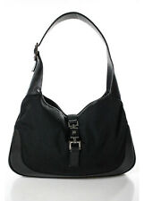 GUCCI Black Nylon Gunmetal Tone Leather Trim Jackie Hobo Shoulder Handbag