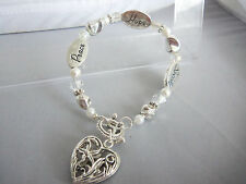 """8"""" Silvertone Serenity, Hope & Peace Bracelet with Heart Dangle and Toggle Clasp"""