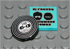 Lego City x1 Black Music Vinyl Record & Cover 2x2 Round Tile DJ Minifigure NEW