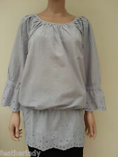 LA REDOUTE ELLOS FRESH SPIRIT GREY broiderie anglaise blouse top tunic UK 20