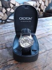 "CROTON ""Big Eye"" Chronograph Watch w/ genuine ostrich black strap / NEW"