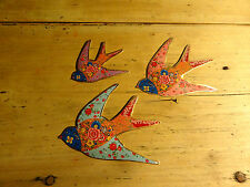 Set of 3 Flying Swallows Wall Hanging Retro Vintage Folk Floral by Sass & Belle