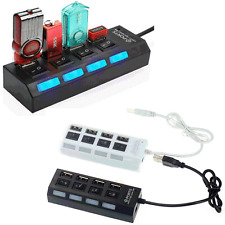 4 Ports USB 2.0 Power On/Off Switch LED Hub Adapters for PC Laptop Notebook Hot