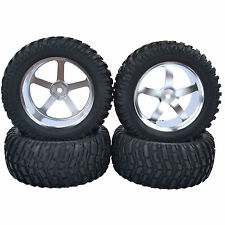95mm RC 1/10 Short Course Truck Off-Road Rally Tires Metal Wheel Silver M05S7