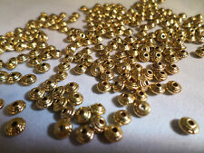 100 x Antique Golden Plated Spacer Beads - 5mm - Cone