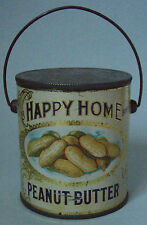 EXCELLENT HAPPY HOME PEANUT BUTTER ADVERTISING TIN PAIL COMPLTE WITH LID & BAIL