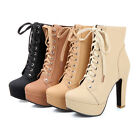 Womens Block High Heels Lace up New Platform Ankle Boots Plus Size Court Shoes