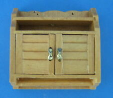 Dollhouse Miniature Light Wood Wall Cabinet Cupboard Shelf Doors Vintage