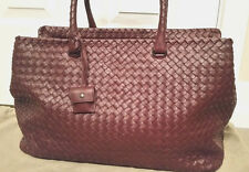 100% Authentic Bottega Veneta Intrecciato Large Brick Bag in Maroon  4.2K